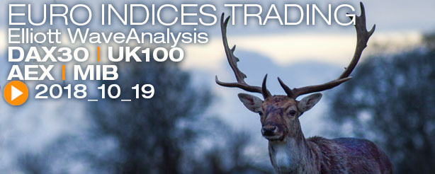 DAX 30 AEX UKX 100 FTSE MIB CAC 40 Ger Mid Cap 50 CFD Trading Elliott Wave 19 October 2018