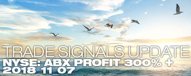 Trade Signals Update NYSE: ABX - Profits Triple plus - 7 November 2018