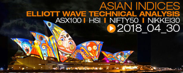 Asian Indices - Elliott Wave Analysis ASX200, China Hang Seng, Nifty 50, Nikkei 30, April 2018