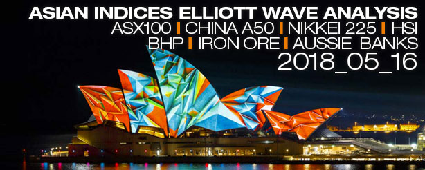 ASX200, China A50, Nikkei 225, HSI, BHP, Iron Ore - Elliott Wave Count 16 May 2018