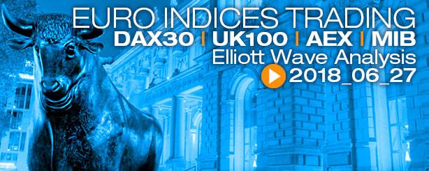 DAX 30 AEX UKX 100 FTSE MIB Futures Elliott Wave News 27 June 2018