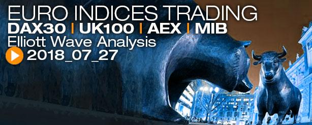 DAX AEX UKX 100 FTSE MIB Futures Elliott Wave News 27 July 2018