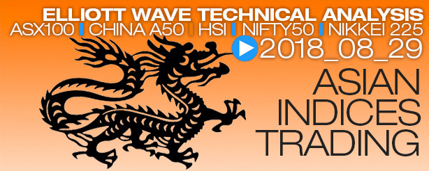 China A50, Hang Seng HSI, Nifty 50, Nikkei N225, ASX 200-XJO - Elliott Wave News, 29 August 2018