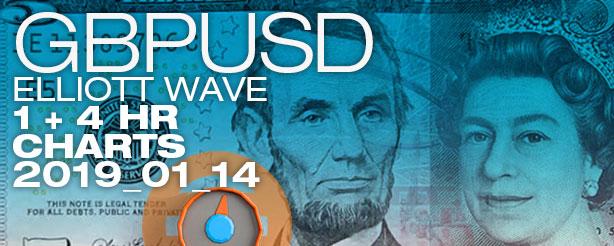 Elliott Wave Forex GBPUSD 1 + 4 hr - 14 Jan 2019