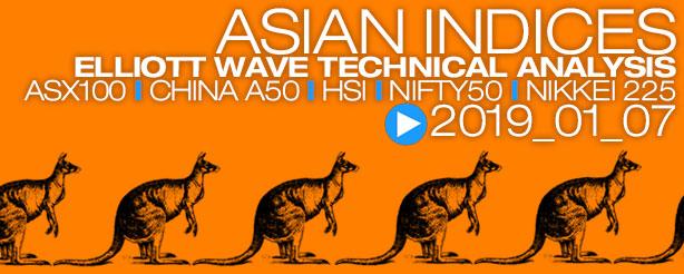 Elliott Wave Nifty ASX200 XJO China A50 Hang Seng HSI 7 January 2019