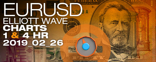Forex EURUSD Elliott Wave 1 + 4 hr 24 Feb 2019