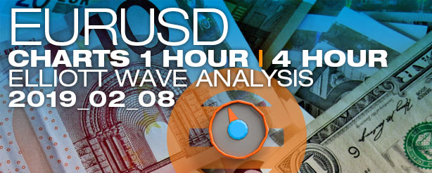 Elliott Wave Forex EURUSD 1 + 4 hr 8 Feb 2019