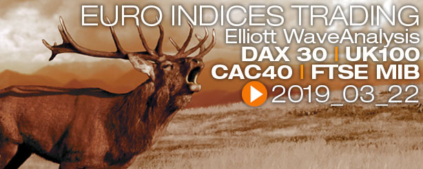 DAX30 UK100 FTSE MIB CAC40 Technical Analysis Elliott Wave 22 March 2019
