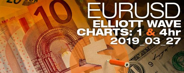 Forex EURUSD Elliott Wave 1 + 4 hr 27 March 2019