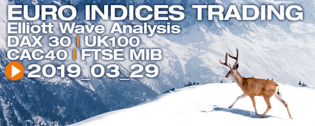 DAX30 FTSE100 FTSE MIB CAC40 Technical Analysis Elliott Wave 29 March 2019