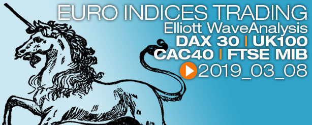 DAX 30 UK100 FTSE100 CAC 40 FTSE MIB Elliott Wave 8 March 2019