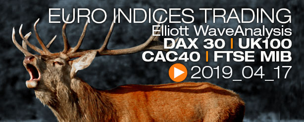 DAX30 FTSE100 UKX FTSE MIB CAC40 Technical Analysis Elliott Wave 17 April 2019