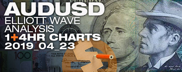 AUDUSD Forex Elliott Wave  1 - 4 hr  23 April 2019