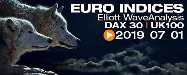 DAX 30 FTSE 100  FTSE MIB Technical Analysis Elliott Wave 1 July 2019