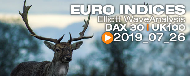 DAX 30 FTSE 100  FTSE MIB CAC 40 Technical Analysis Elliott Wave 26 July 2019