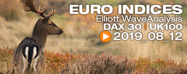 DAX 30 FTSE 100  Technical Analysis Elliott Wave 12 August 2019