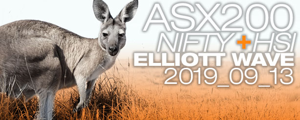 ASX200 NIFTY 50 HANG SENG Technical Analysis Elliott Wave 13 September 2019