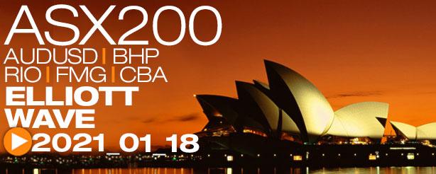 ASX200,AUDUSD, BHP, RIO, FMG, CBA Technical Analysis Elliott Wave 18 Feb