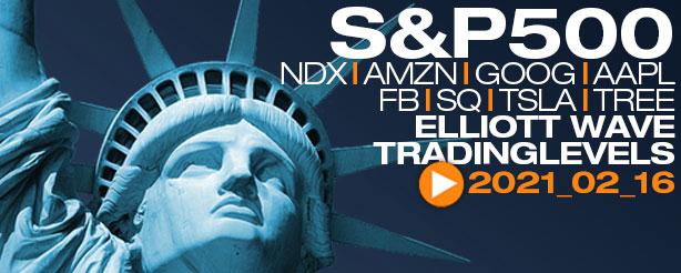 SP500, NASDAQ, AMZN, GOOG, AAPL, FB,SQ,TSLA, TREE, Analysis Elliott Wave 18 Feb 2021