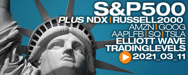 SP500, NASDAQ, Russell 2000, AMZN, GOOG, AAPL, FB,SQ,TSLA, Technical Analysis Elliott Wave  11 March